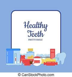 Vector flat style teeth hygiene icons
