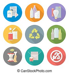 vector flat style various waste colored groups long shadow icons set for separate collection and recycle garbage