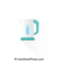 vector flat style white electric kettle illustration