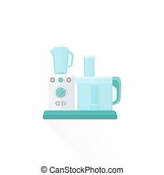 vector flat style white food processor illustration