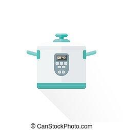 vector flat style white kitchen multicooker illustration
