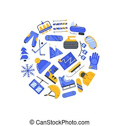 Vector flat style winter sports elements circle concept