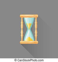 vector flat style wood sandglass illustration icon