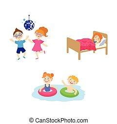 vector flat summer camp kids activity set