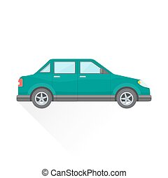 vector green blue color flat design four-door sedan body type vehicle illustration isolated white background long shadow