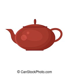 Vector flat teapot icon logo isolated on white background. Tea symbol, design element for restaurant menu, recipe, kitchen - stock illustration