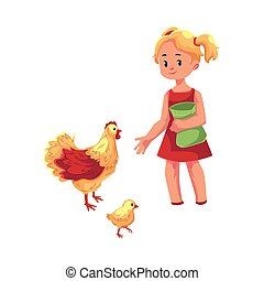vector flat teen girl feeding domestic birds