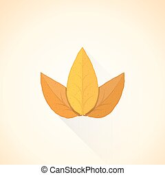 vector flat threesome tobacco leaf illustration icon -...