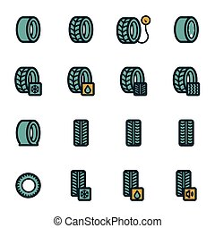 Vector flat tire icons set