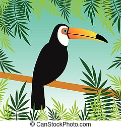 Vector flat toucan bird on branch with palm leaves