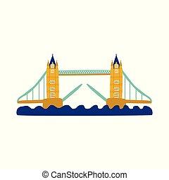 vector flat tower bridge of united kingdom icon - vector...