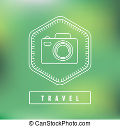 Vector flat travel badge in outline style