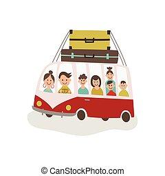 vector flat travelling vintage minivan car