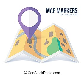 Vector flat violet marker symbol on yellow city map