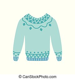Vector flat warm knitted wool sweater pullover