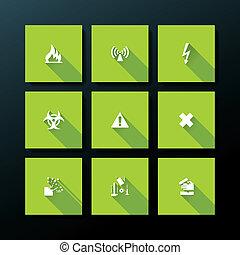 Vector flat warning icon set