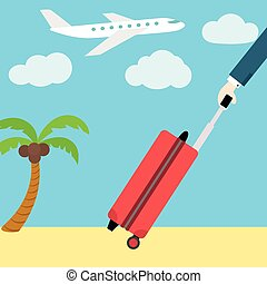 Vector flat web banner. Go on vacation. Man with a suitcase.