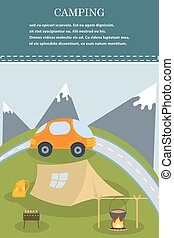 Vector flat web banner on the theme of camping. Camping poster. Camping flat illustration. Camping. Summer poster of