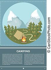Vector flat web banner on the theme of camping with a bonfire. Camping poster. Camping