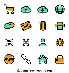 Vector flat web icons set