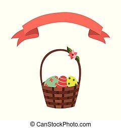 vector flat wicker basket flowers easter ribbon