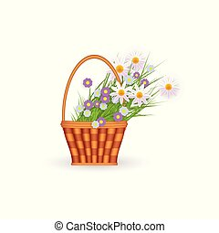 vector flat wicker basket with flowers easter icon