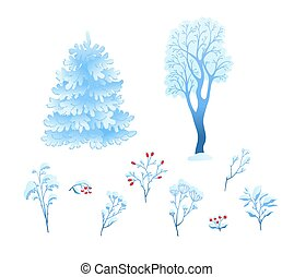 Vector flat winter abstract plant, floral snowcap