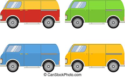 Vector flat with the image of the tourist van.Vector flat a retro a van for travel.