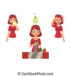 Vector flat woman with illness, healthy lifestyle