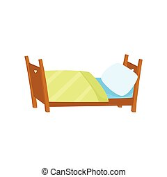 vector flat wooden bed with pillow and blanket.