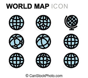 Vector flat world map icons set on white background