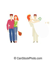 vector flat young couple, newlywed couple set