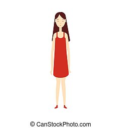 vector flat young girl in red dress isolated