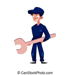 vector flat young mechanic boy with wrench