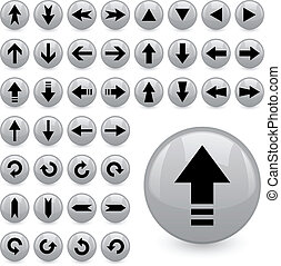 vector, flecha, botones