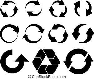vector, flechas, circular