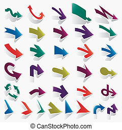 vector, flechas, conjunto