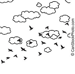 vector flock of flying birds and clouds in the sky - vector...