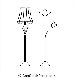 floor lamp clipart black and white. vector floor lamps for house. lamp clipart black and white