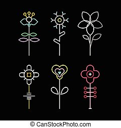 vector, flor, iconos