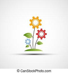 vector, flor, logotipo, en, el, forma, de, engranajes