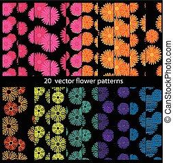 vector, flor, patrones