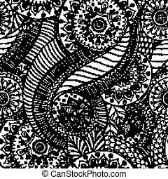 vector., flor, seamless, plano de fondo, retro