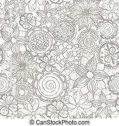 Vector floral abstract hand-drawn background with flowers and grunge effects.