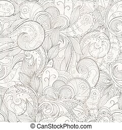Vector floral abstract hand-drawn background with grunge effects.