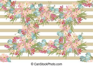 vector, floral, achtergrond, kosmos, krokus, illustratie