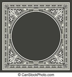 Vector floral and geometric monogram frame on dark gray background. Monogram design element. Vintage styled initial decoration.