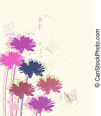 floral background with chamomile and butterflies