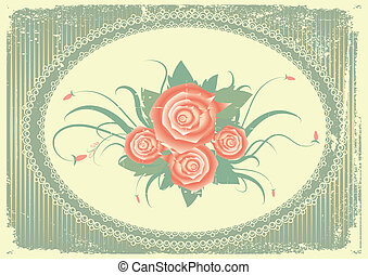 Vector floral background with decor frame on old paper