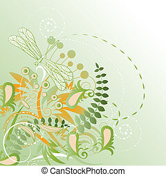 vector floral background with dragonfly. clipping mask